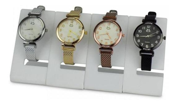 Kit 4 Relógio Feminino Marca Orizom Prateado, Dourado, Preto