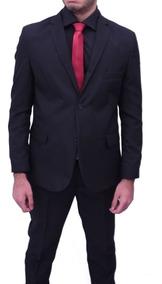 Terno Slim Italiano Preto Oxford Blazer+calça+camisa+gravat