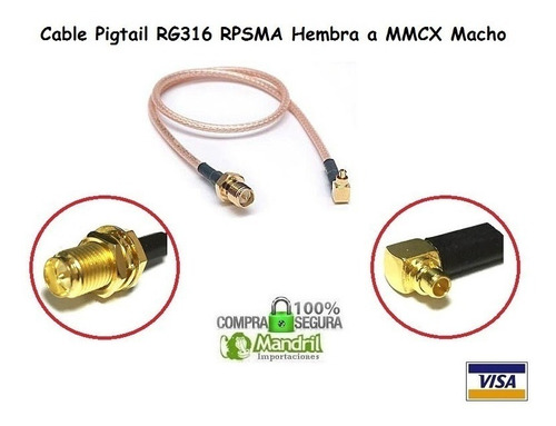Cable Pigtail Rg316 Mmcx Macho A Rp Sma Hembra