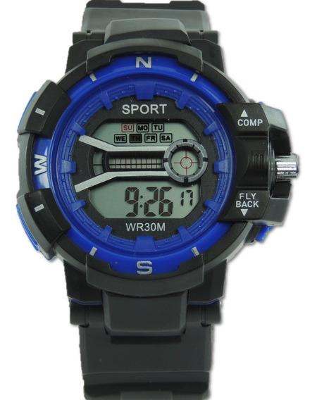 Relógio Infantil Digital Sport Azul Luz Cronometro Crianças