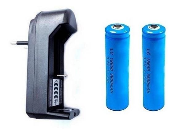 1 Carregador + 2 Baterias 18650 3.7v / 4.2v Lanterna Tatica