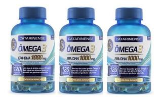 3 Potes Omega 3 Catarinense 1000mg 120 Cápsulas - Original