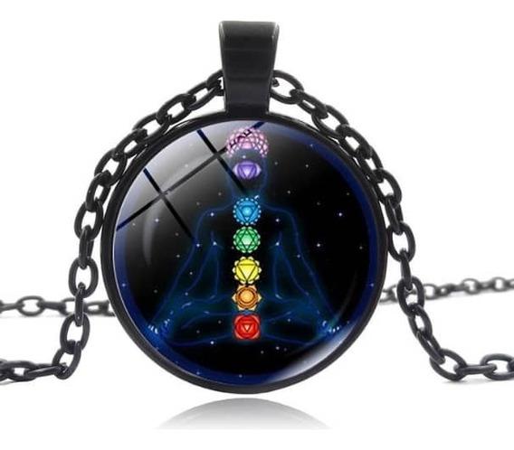 Collar 7 Chakras Reiki Armoniza Meditar Dije + Cadena Negro