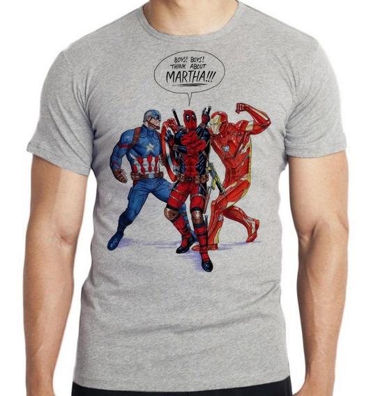Camiseta Infantil Kids Boys Capitão America Dead Pool Iron