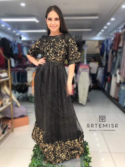 Vestido Largo ,con Pedreria En La Falda Y Flores Doradas