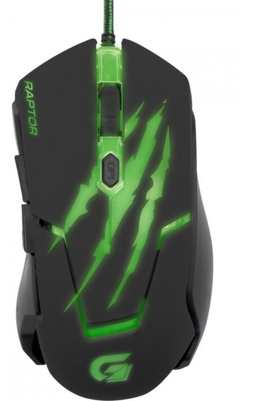 Mouse Gamer Usb 3200dpi Raptor Om-801 Preto/verde Fortrek