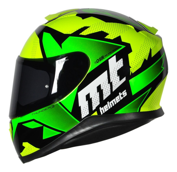 Capacete Motociclista Mt Thunder 3 Torn - Yellow Fluor