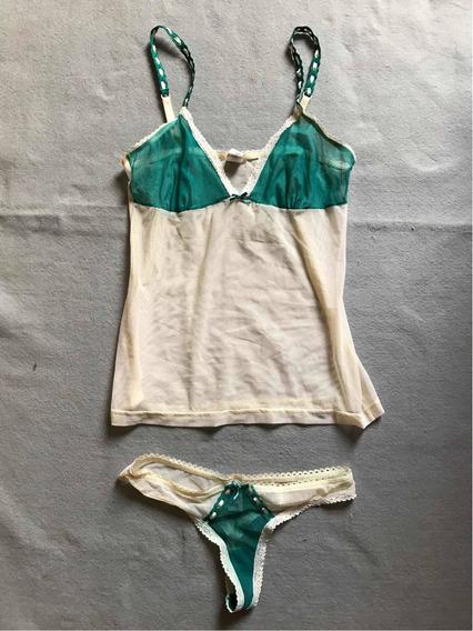 Babydoll Y Tanga Transparente Color Veige Y Verde
