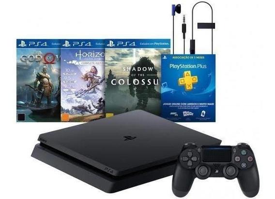 Ps4 Playstation Slim 4 1000gb + 3 Jogos Bundle Hits 4