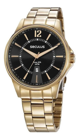 Relógio Analógico Seculus Masculino Dourado 35016gpsvda1