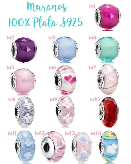 Charm Murano Cristal Pandora 1 Pz 100% Plata 925