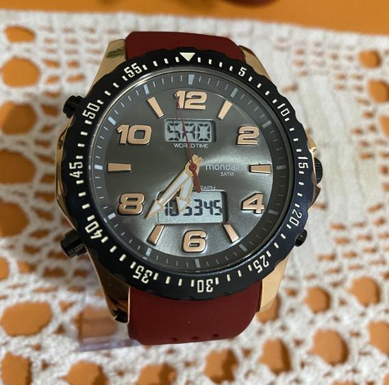 Relógio Mondaine Anadigi Números Grandes Dourado Silicone