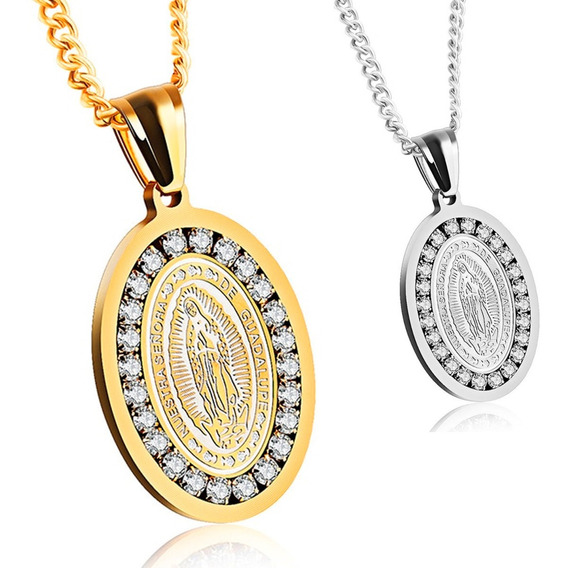 Medalla Virgen Guadalupe Regalo Mamá Plata Oro Swarovski Ele