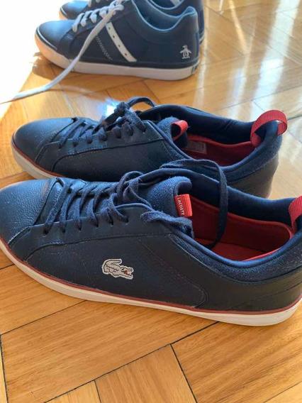Zapatillas Zapatos Lacoste Casi Nuevo Azul Cuero