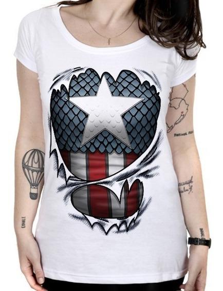 Camiseta Feminina Capitão América - Espirito Patriota