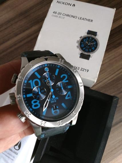 Relógio Nixon 48-20 Chrono Leather Dark Blue
