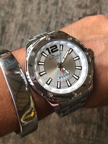 Relógio Masculino Condor Co2115wy/3k Prateado Aço Grande