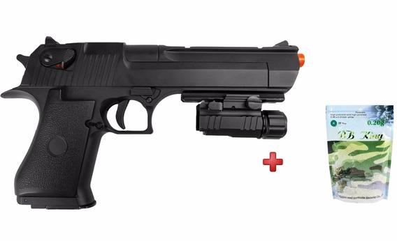 Pistola Airsoft Elétrica Desert Eagle+ Lanterna Nautika+ Bbs