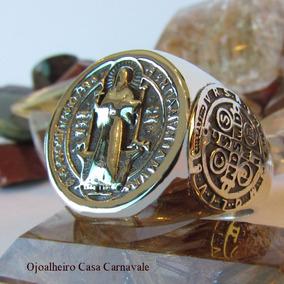 Anel Três Medalhas São Bento Ano1880 Prata Maciça Ojoalheiro