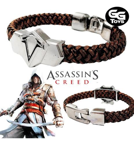 Pulsera De Assassins Creed / Zinc Y Cuero 100% Nueva