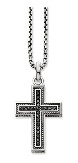 Corrente Prata Cross Zircônia