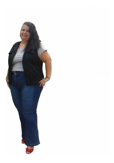 Calça Flare Jeans Plus Size Super Strech - Viper 52 Ao 62