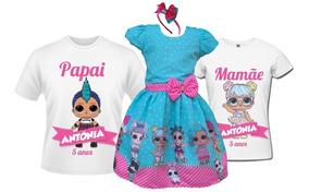Vestido Lol Surprise Luxo + Camisetas Pai E Mãe + Tiara