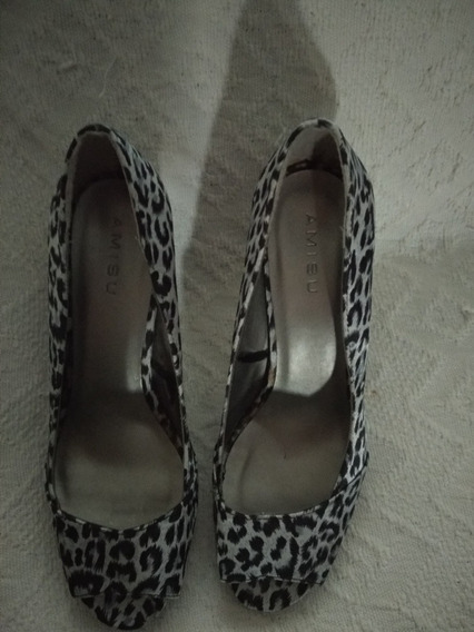 Zapatos Estiletos Animal Print De Razo Casi Sin Uso