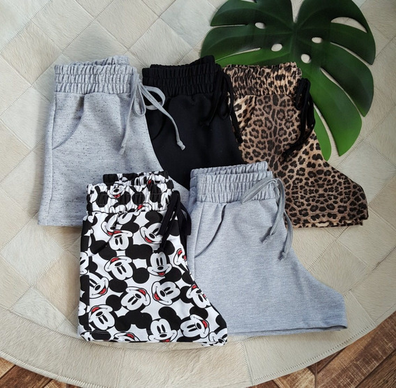 Kit Atacado 5 Shortinho Shorts Feminina Cintura Alta Moletom