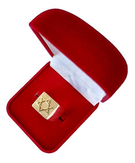 Anel De Ouro 18kl Estrela De Davi