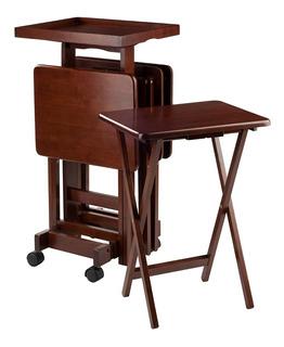 Set De Mesas Plegables Y Base Café Winsome Wood