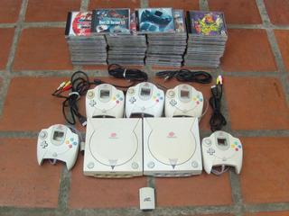 Sega Dreamcast(2),consola,controles,memoria,cables Y Juegos