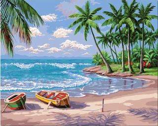 Pintura Al Óleo Diy, Pintura Por Número De Kit-sunny Beach 1