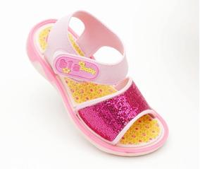 Sandália Infantil Babuche Rosa Purpurina Menina Bia Baby