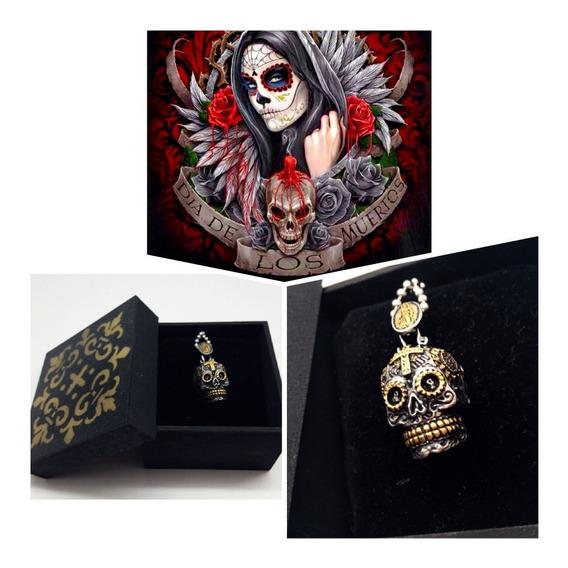 Colar Caveira Mexicana,c/caixa,barato.santa Da Morte,top.