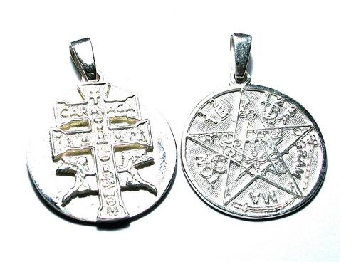 Dije De Tetragramaton Y Cruz Caravaca En 1  Plata Ley.925