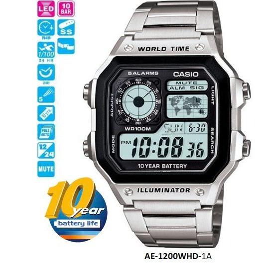Relógio Casio Masculino Original Prata Mapa Digital Ae1200wh