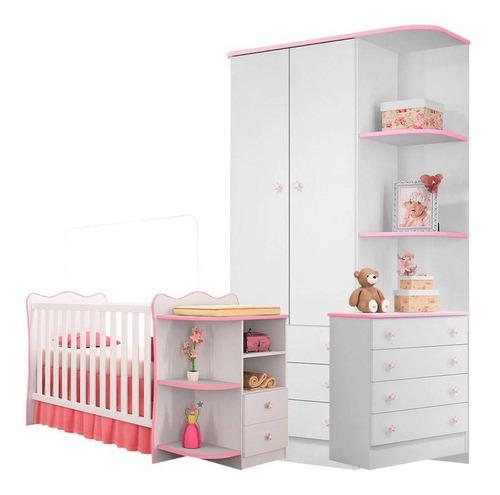 Jogo Quarto Infantil Doce Sonho 3 Peças Branco Rosa Qmovi