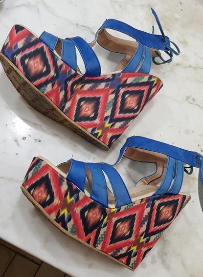 Sandalias Ta 37 38 Coloridas Modernas Vintage
