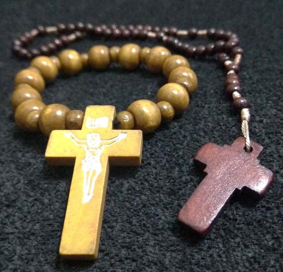 Kit 2 Pulseira Bracelete Terço Crucifixo Madeira Religião