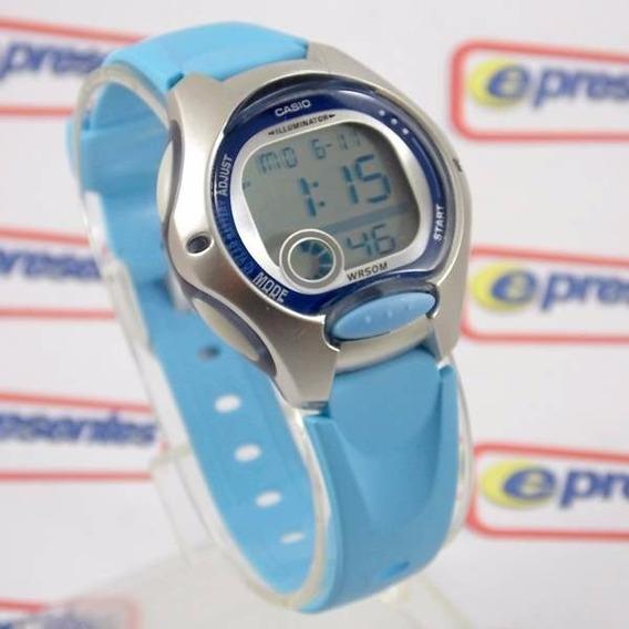 Lw-200-2bv Relogio Casio Digital Feminino Pequeno Azul Claro
