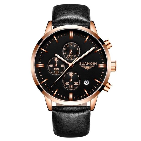 Luxo Guanqin Marca Homens Moda Relógio De Pulso À Prova D
