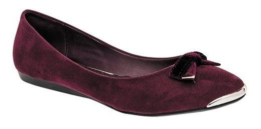 Zapatos Bajos Casual Para Dama Vino Con Moño Decorativo