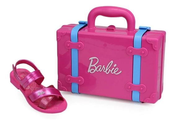 Sandália Infantil Grendene Barbie+maleta+adesivos Original
