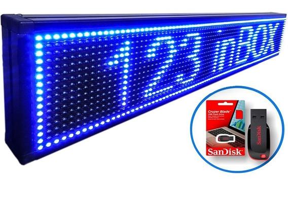 Letreiro Digital Luminoso Led Azul Painel 1,00x0,20m Usb