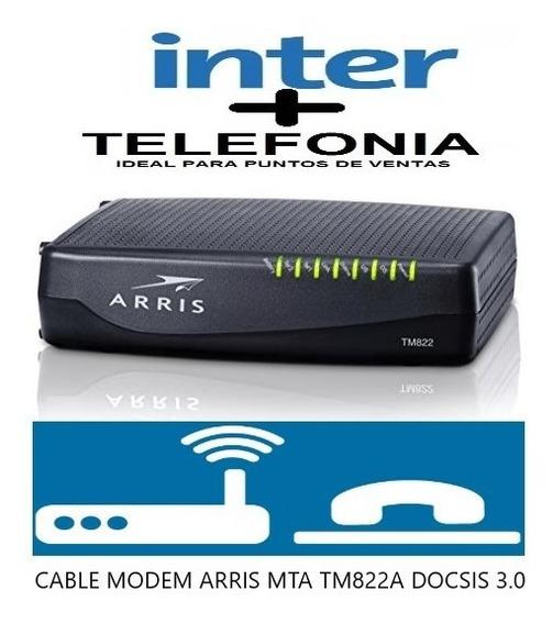 Cable Modem Arris Tm822a Inter Mta 3.0 Pto De Vta, Telefonía