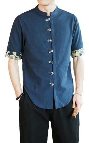 Camisa Hombre Azul Marino Manga Corta