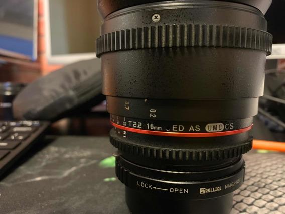 Rokinon Cine 16mm 2.2 Nikon Adaptador Sony E-mount