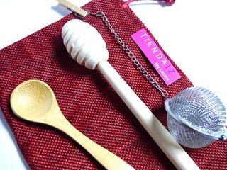 Set: Infusor De Te + Cuchara Bambú + Palito Miel Bambú