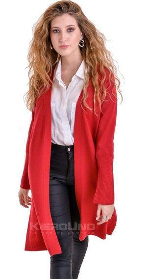 Cárdigan Tapado Largo Saco Sin Botones Sweater Rojo Kierouno